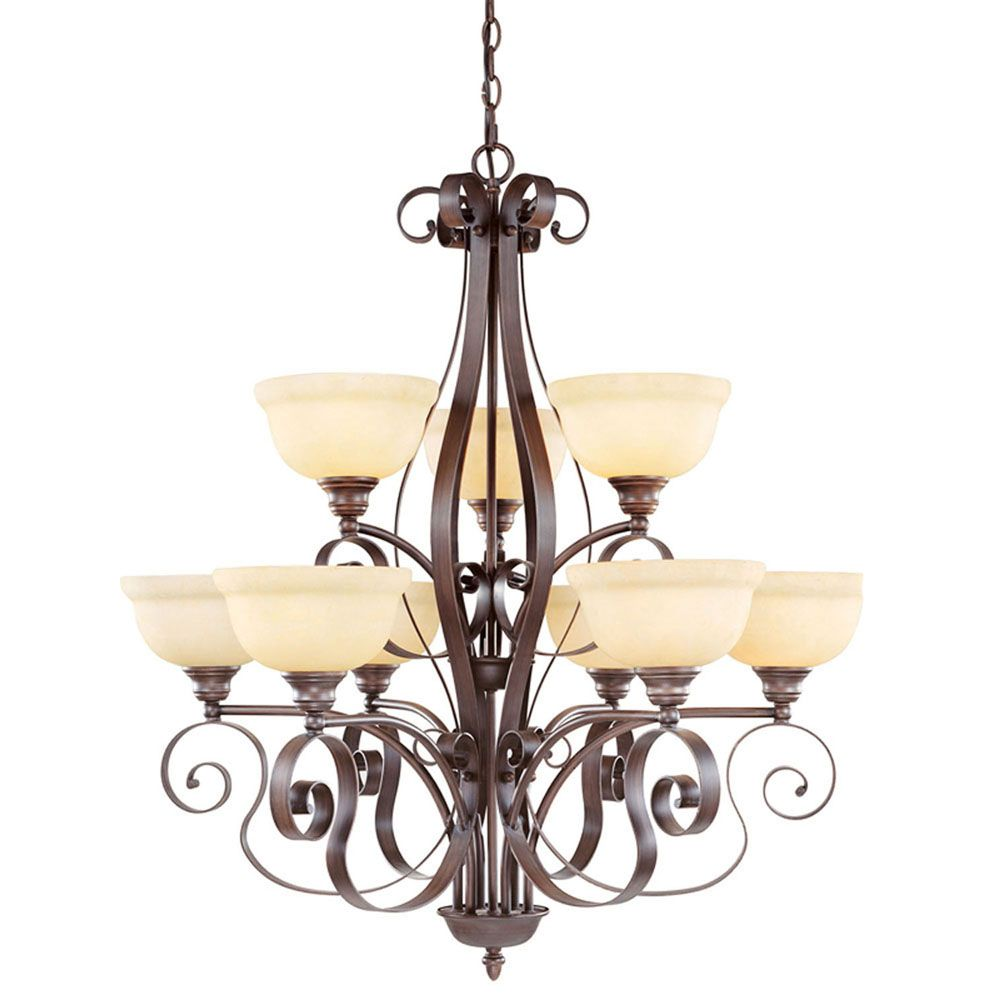 Illumine Providence 6 Light Bronze Incandescent Chandelier with Vintage Scavo Glass