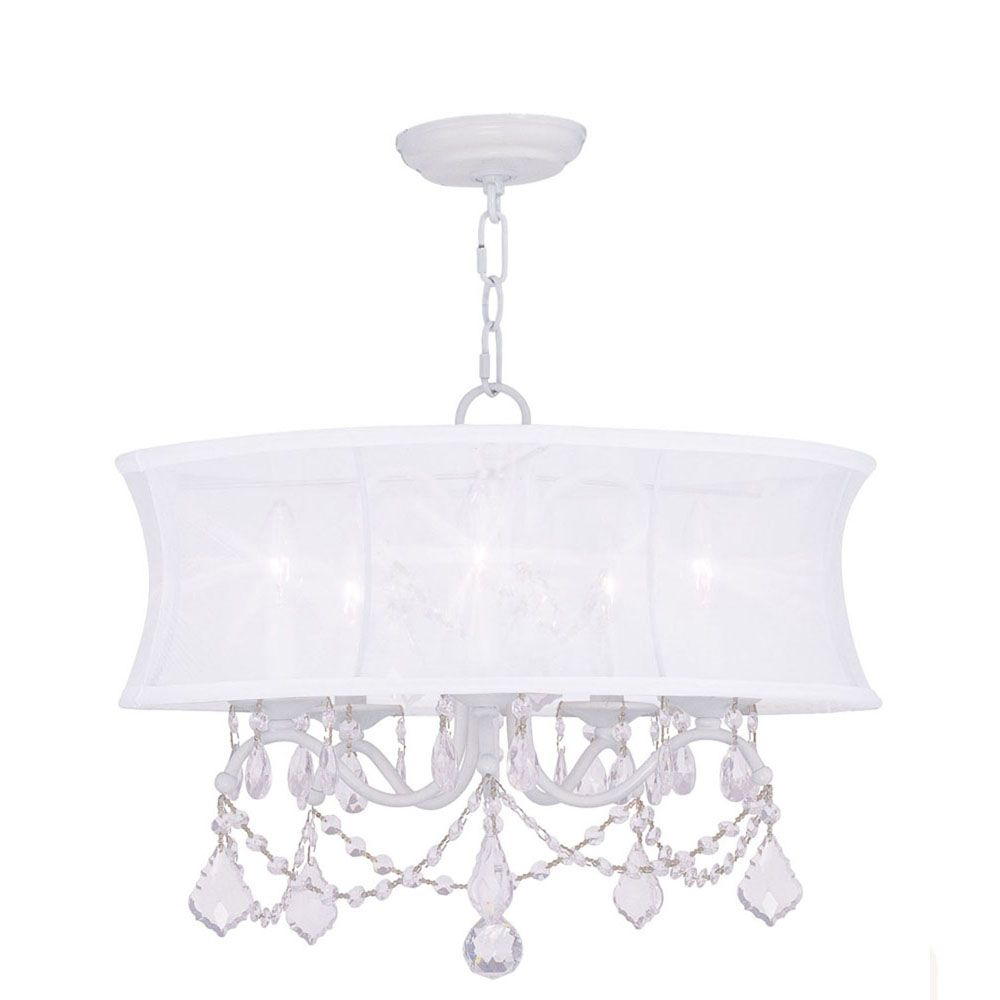 Providence 5-Light White Chandelier with an Off-White Silk Shimmer Shade