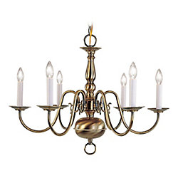 Illumine Providence 6-Light Antique Brass Chandelier
