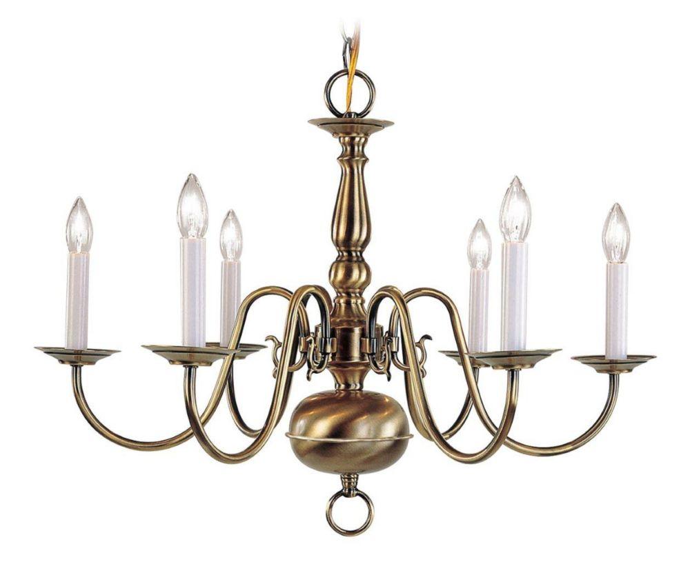 Providence 6-Light Antique Brass Chandelier