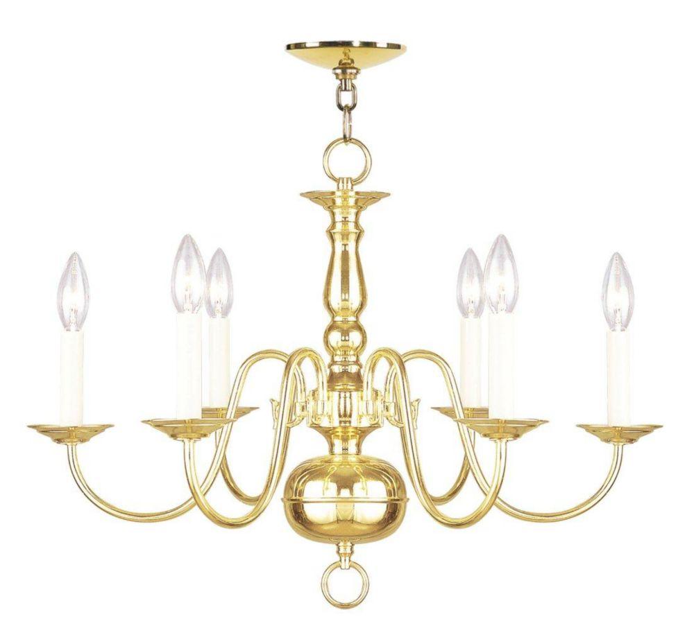 Providence 6 Light Bright Brass Incandescent Chandelier