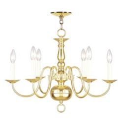 Illumine Providence 6-Light Bright Brass Chandelier