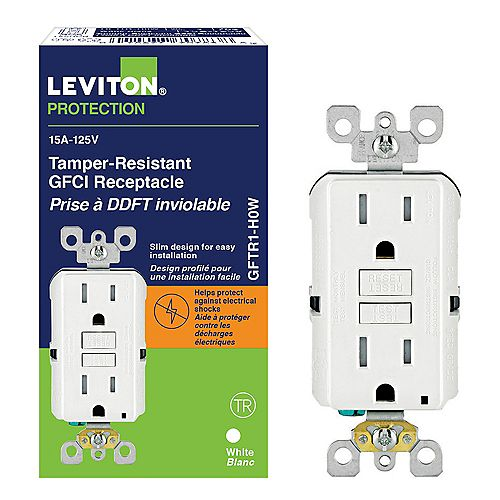Leviton Decora 15 Amp Tamper-Resistant Slim GFCI Receptacle/Outlet with Monochromatic Buttons