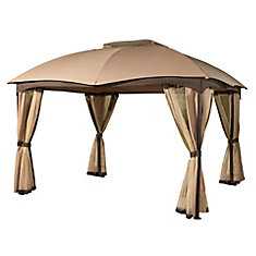 Phuket 10 ft. x 12 ft. Steel Gazebo with Mosquito Net and Curtains in Beige and Brown