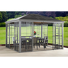 Costa Verde 12 ft. x 12 ft. Solarium with 4 Sliding Doors in Taupe