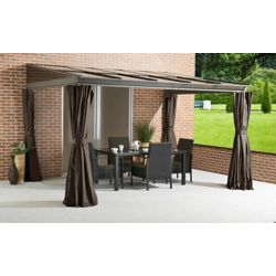 Sojag Pompano 10 ft. x 10 ft. Hard Top Patio Gazebo with Polycarbonate Roof and Spun Curtains