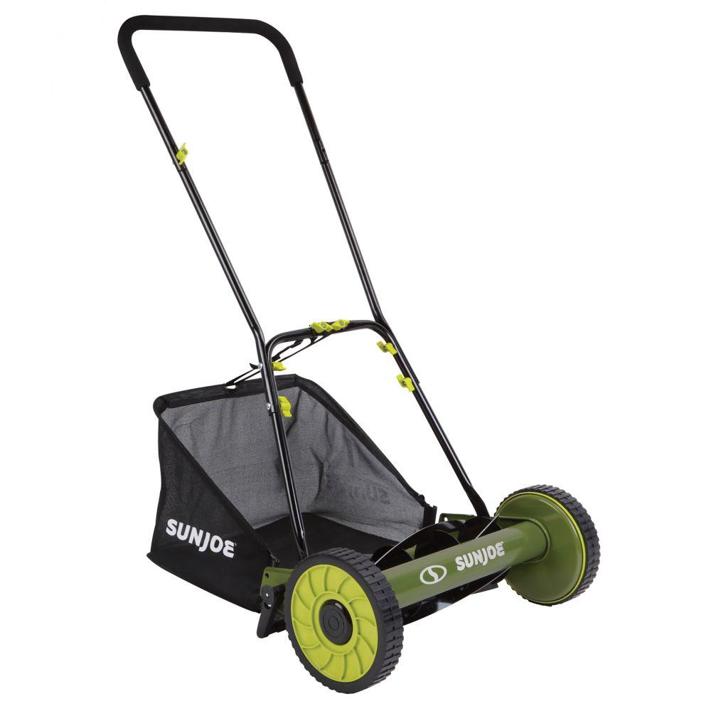 16-inch Mow Joe Manual Reel Mower with Grass Catcher