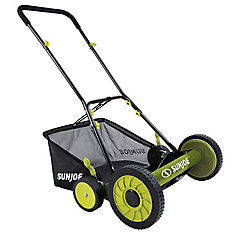 Mow Joe 18-inch Manual Reel Lawn Mower with Grass Catcher