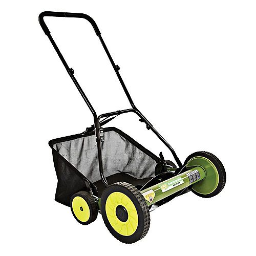 Sun Joe Mow Joe 20-inch Manual Reel Lawn Mower with Grass Catcher and Oversize Wheels