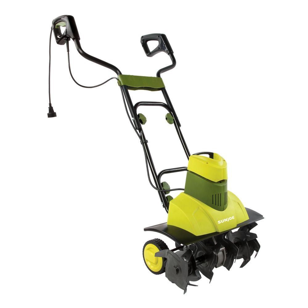 Cultivateur électrique Tiller Joe Max 18po 9A à 6fourchons dacier, roues et poignée ergonomiqu...