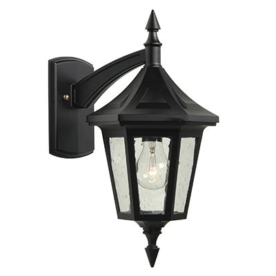 Elegant, Downlight Wall Mount, Clear Seeded Glass Panels, Black
