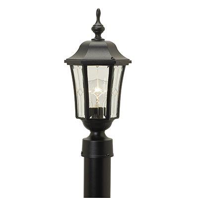 Vision, luminaire sur poteau, panneaux de verre à motif et contours biseautés, noir (poteau non-i...
