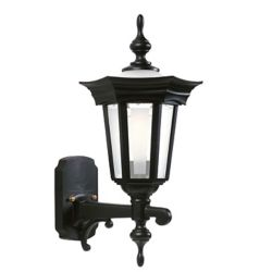 Snoc Flair, Uplight Wall Mount, Frosted Glass Panels And Globe, Black