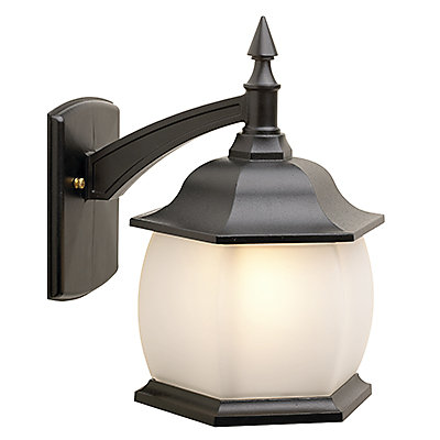 Avenue, Downlight Wall Mount, Frosted Glass Globe, Black