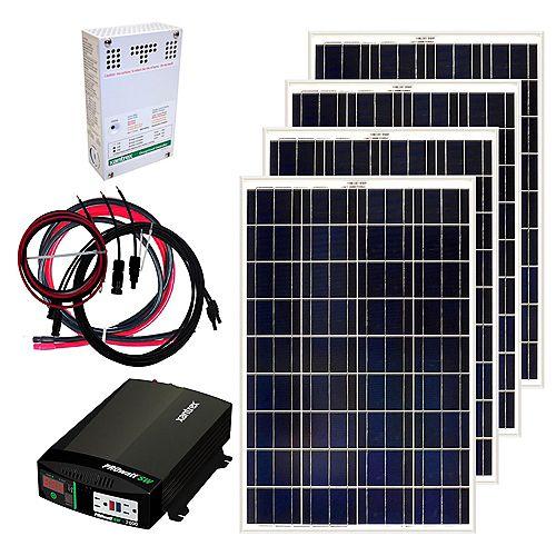 Grape Solar Ensemble de panneaux solaire autonome 400 W