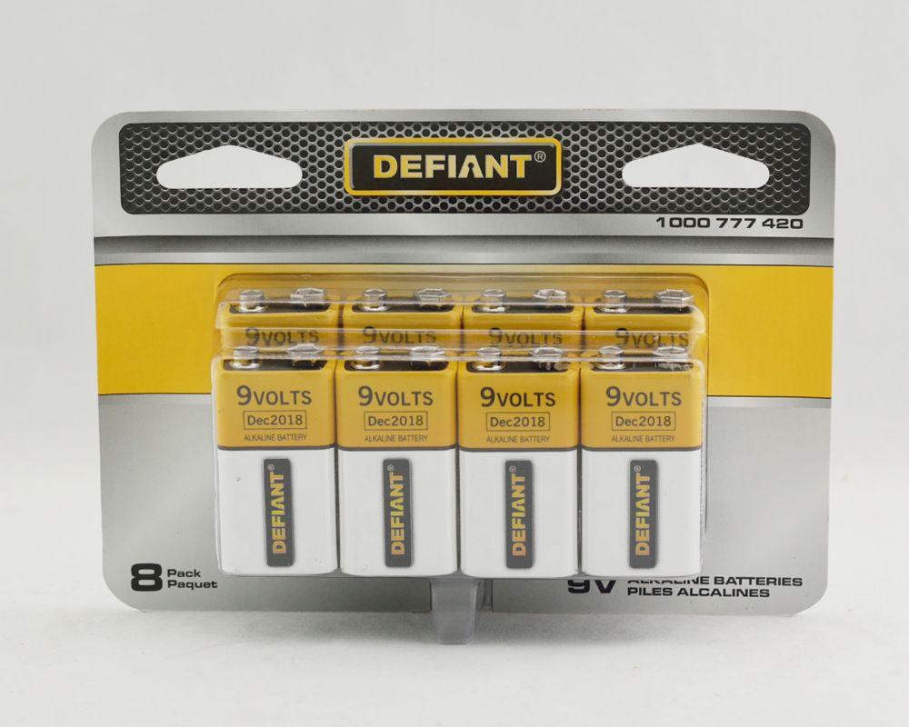 Defiant 9V 8 PK Alkaline Battery PDQ