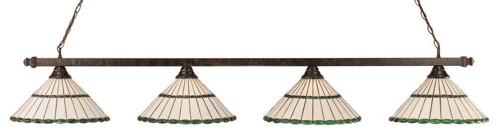 Concord 4 Light Ceiling Bronze Incandescent Billiard Bar with a Honey and Green Tiffany Glass