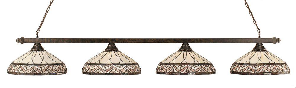 Concord 4-Light Ceiling Bronze Billiard Bar with a Royal Merlot Tiffany Glass