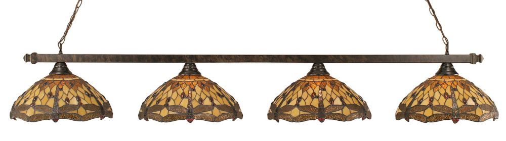 Concord 4-Light Ceiling Bronze Billiard Bar with an Amber Glass