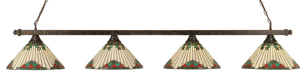 Concord 4-Light Ceiling Bronze Billiard Bar with a Green Tiffany Glass