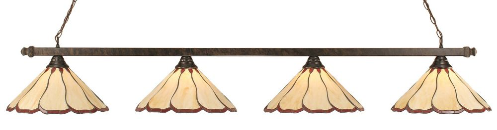 Concord 4-Light Ceiling Bronze Billiard Bar with a Honey and Brown Tiffany Glass