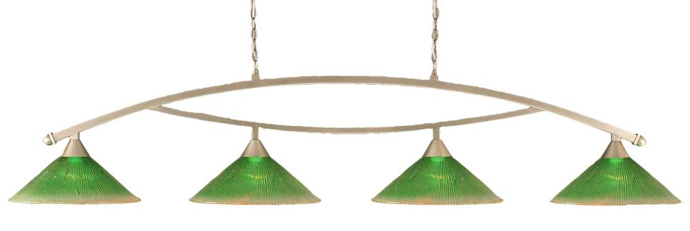 Concord 4 Light Ceiling Brushed Nickel Incandescent Billiard Bar with a Green Crystal Glass