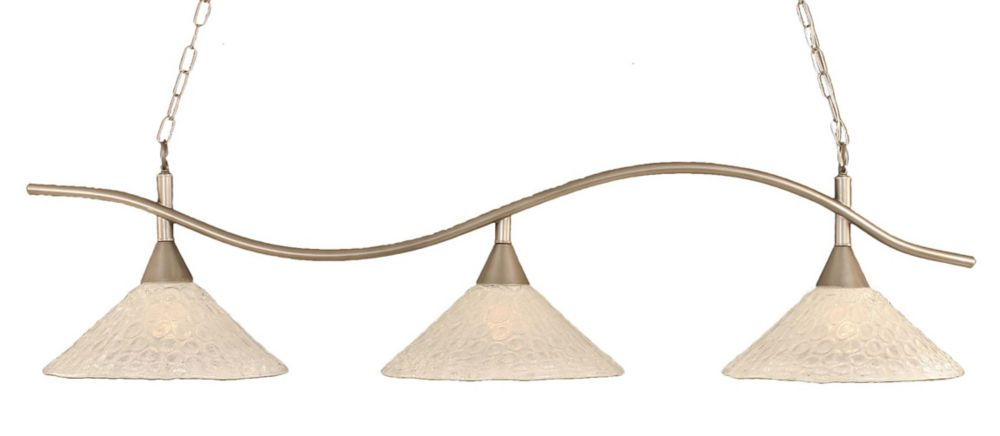 Concord 3 Light Ceiling Brushed Nickel Incandescent Billiard Bar with a Clear Crystal Glass
