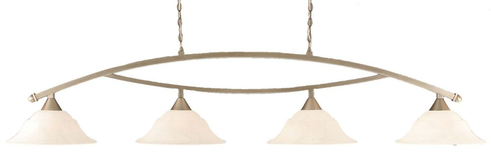 Filament Design Concord 4 Light Ceiling Brushed Nickel Incandescent Billiard Bar with a White Marble Glass