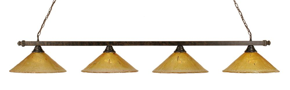 Concord 4-Light Ceiling Bronze Billiard Bar with a Gold Champagne Crystal Glass