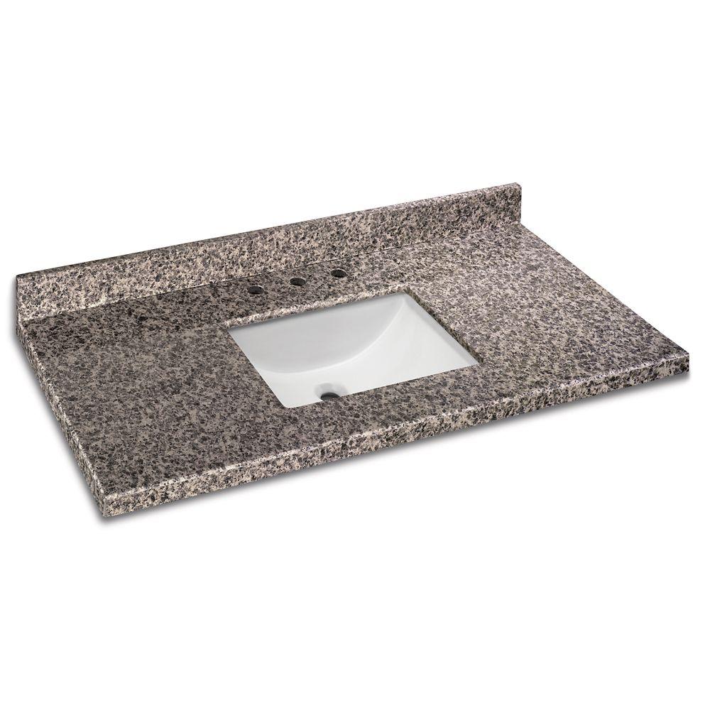 GLACIER BAY 49-inch W x 22-inch D Granite Vanity Top in Sircolo with White Single Trough Basin