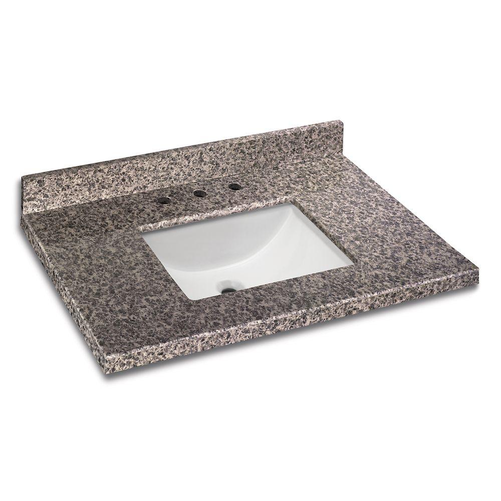 GLACIER BAY 37 Inch x 22 Inch Sircolo Granite Vanity Top with Trough Bowl