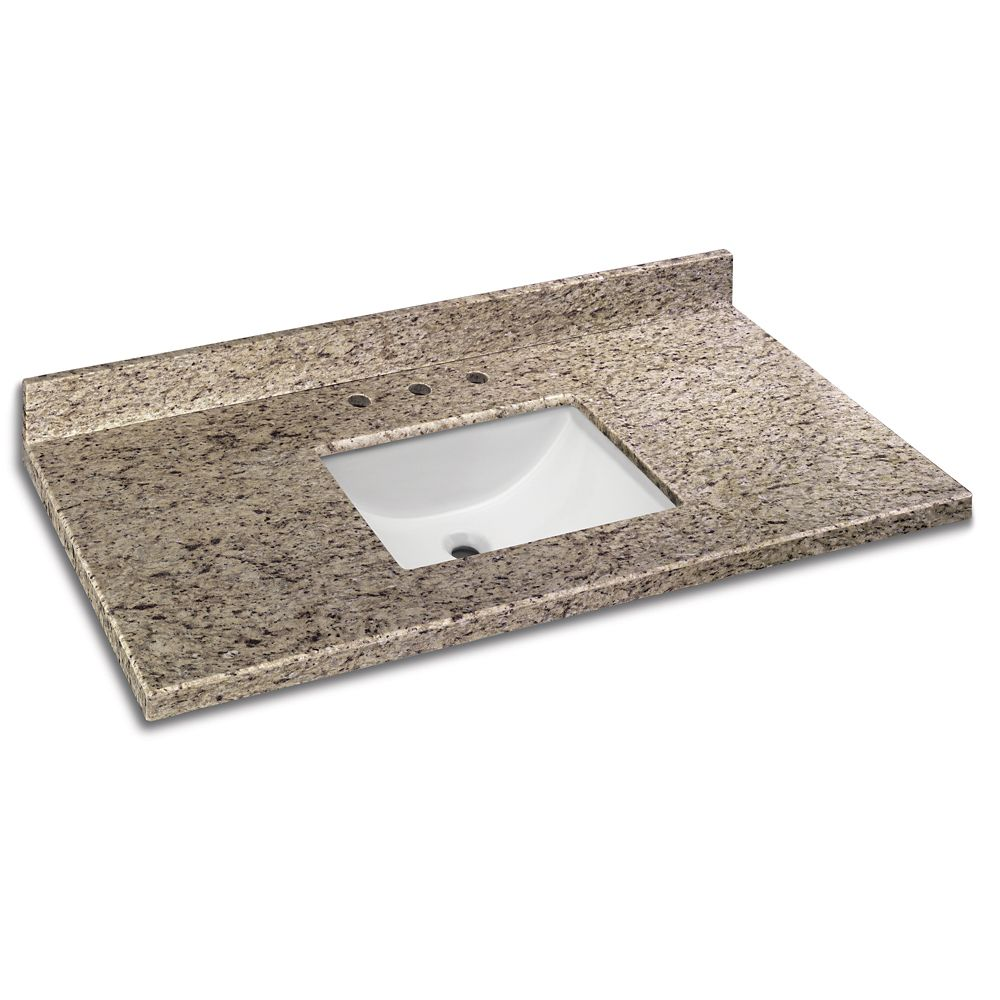 49 inch x 22 inch giallo ornamental granite vanity top with trough