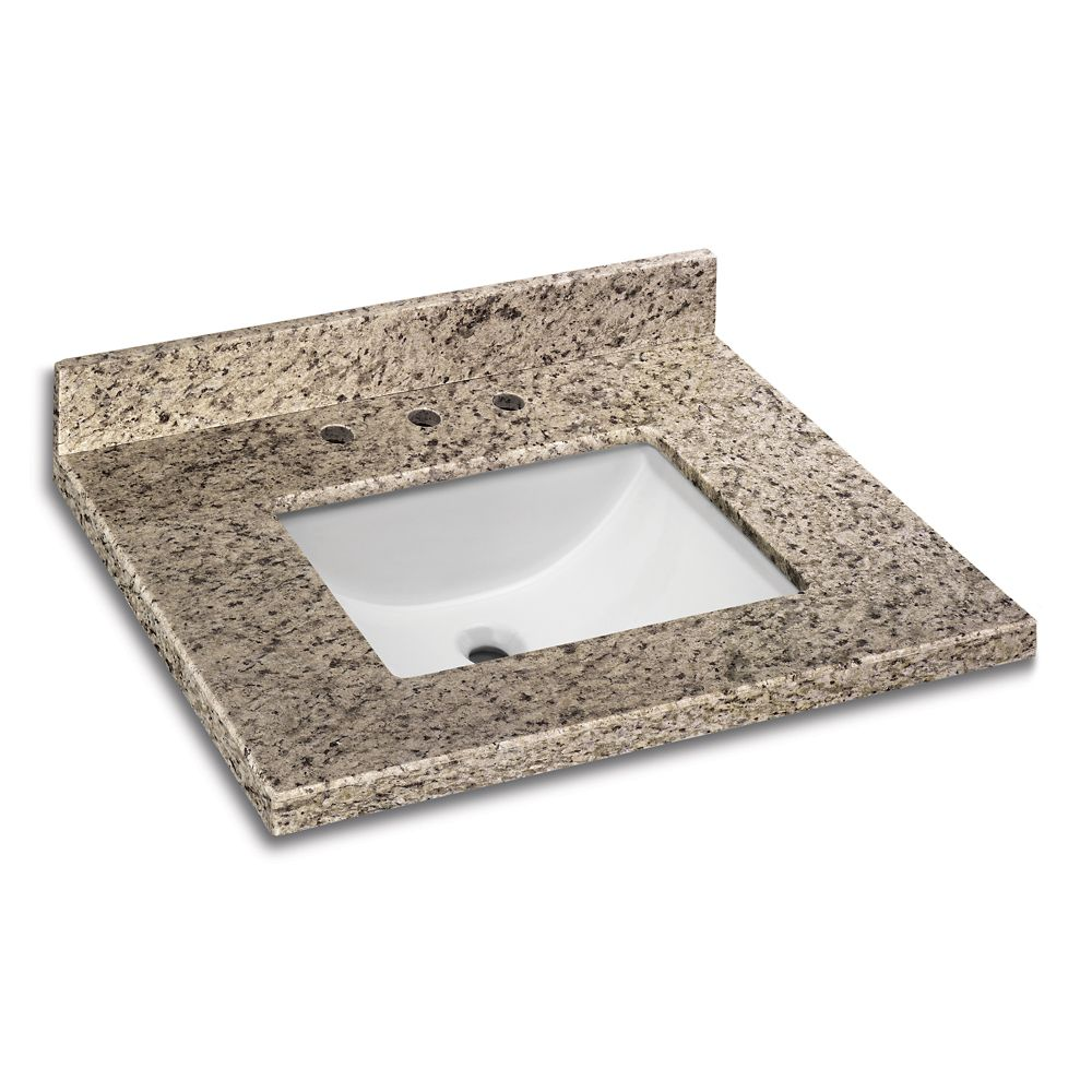 GLACIER BAY 31-inch x 22-inch Giallo Ornamental Granite Vanity Top with White Trough Basin
