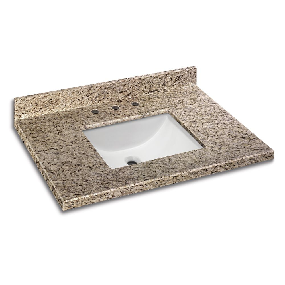 37 Inch x 22 Inch Giallo Ornamental Granite Vanity Top with Trough Bowl