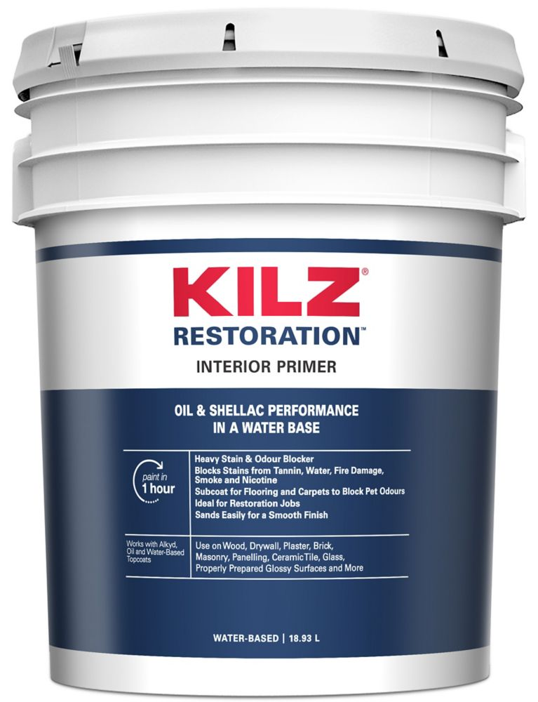 KILZ MAX Interior Water-Based Primer, Sealer, Stainblocker, 18.93 L