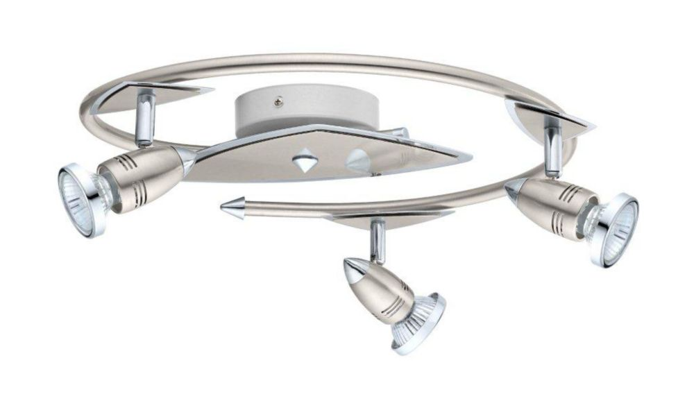 Wave Ceiling Light 3L, Matte Nickel and Chrome Finish