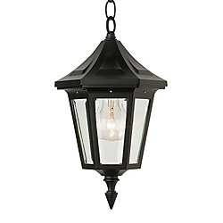 Snoc Elegant Series, Black With Clear Beveled Glass Panels, Chain Mount