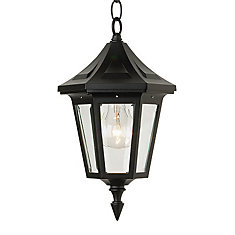 Elegant Series, Black With Clear Beveled Glass Panels, Chain Mount