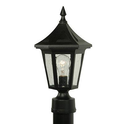 Elégant, luminaire sur poteau, panneaux de verre clairsemé, fini noir (poteau non-inclus)