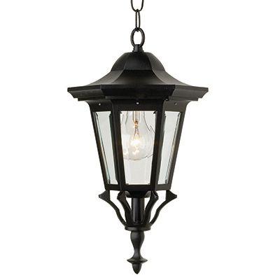 Collection Prestige, fini noir, panneaux de verre clair biseauté, luminaire suspendu