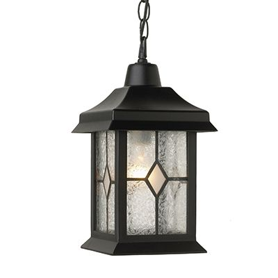 Victoria Series, Black With Tiffany Type Glass Panels, Chain Mount