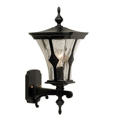 Mirage, Uplight Wall Mount, Clear Seeded Glass Globe, Black
