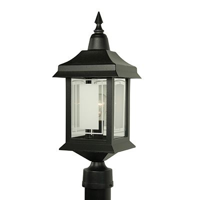 Victoria, Post Mount, Etched Glass Panels, Black (pole not included)