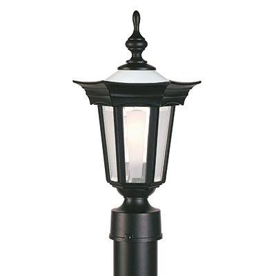 Flair, luminaire sur poteau, panneaux et globe de verre givrés, noir (poteau non-inclus)