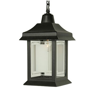Victoria Series, Black With Etched Glass Panels, Chain Mount