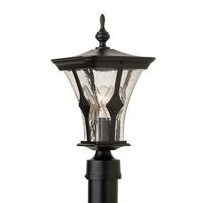 Mirage, Post Mount, Clear Seeded Glass Globe, Black (pole not included) 81496BK in Canada