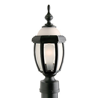 Novella II,  luminaire sur poteau, panneaux et globe de verre givrés, noir (non-inclus)