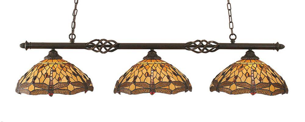 Concord 3 lumières plafond granite foncé incandescence Bar billard avec un verre ambre