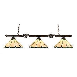 Filament Design 3 lumières plafond granite foncé incandescence Bar Billard au miel et vert verre selon Tiffany