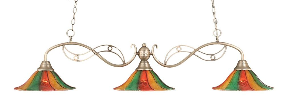Concord 3 Light Ceiling Brushed Nickel Incandescent Billiard Bar with a Mardi Gras Glass